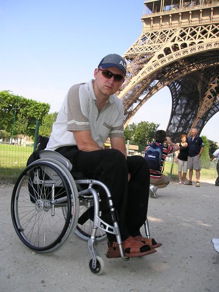 (Photo: a person in a wheelchair can be active and self-contained)