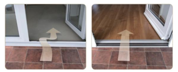 Стандартная дверь с порогом  /  Дверь с установленной системой Alumat